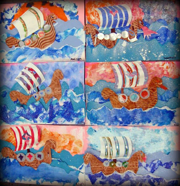 Viking long boat project using A3 paper, paint, sponges and brushes.  Lollipop sticks and mark making tools are optional.
