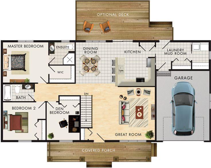 Kimberly II Floor Plan  Great Room: 18′-6″ x 15′-9″ Kitchen: 11′-0″ x 13′-0″ Dining Room: 12′-6″ Garage: 15′-8″ x 20′-9″ Master Bedroom: 13′-6″ x 12′-0″ Bedroom 2: 10′-3″ x 11′-3″ Den/Bedroom 3: 9′-10″ x 10′-7″