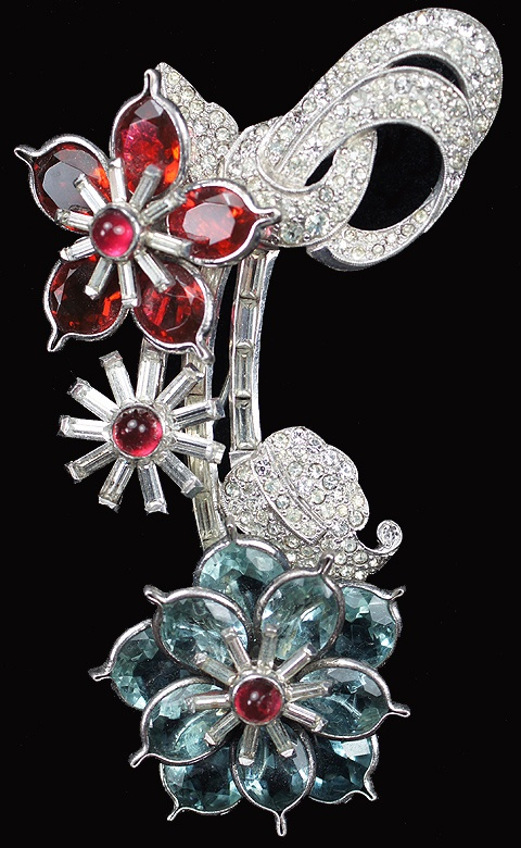 Ruby,aquamarine and diamond brooch Art Deco