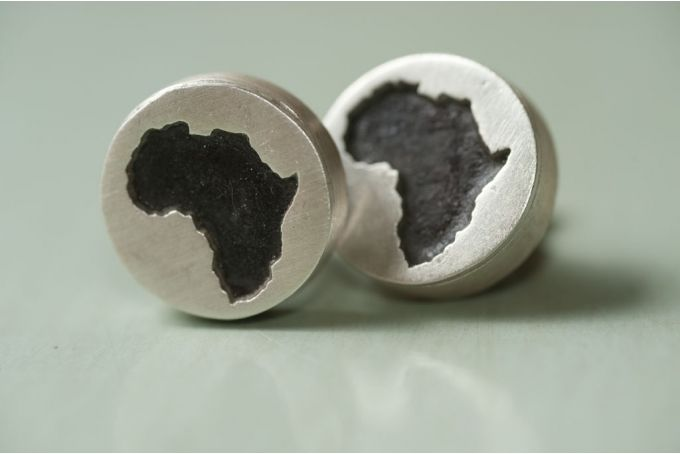 African Blackwood and sterling Silver  Africa Cufflinks by Natasha Wood Jewellery