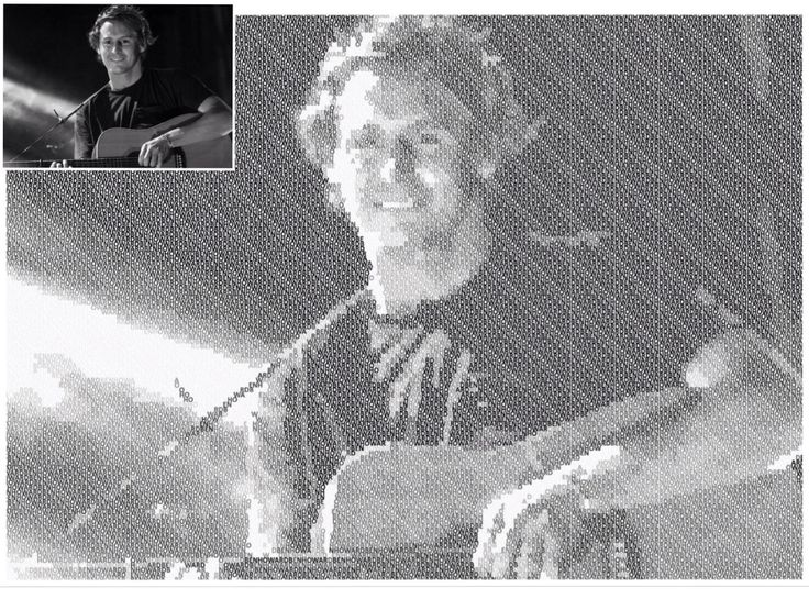 Portrait of Ben Howard using only the letters in his name