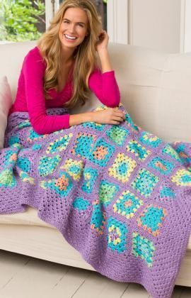 Cheerful Granny Square Throw Free Crochet Pattern from Red Heart Yarns