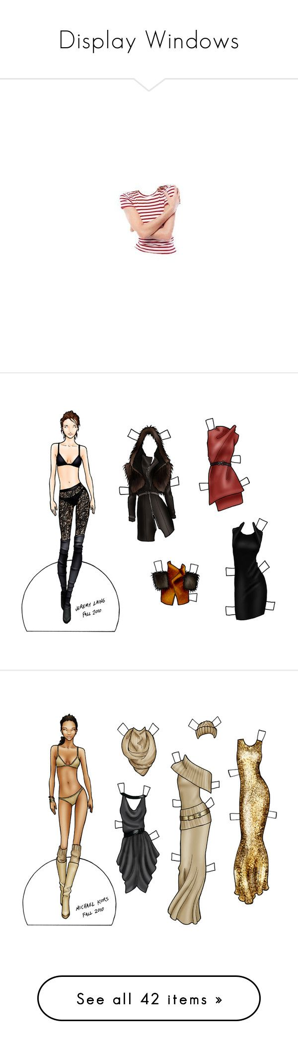 """Display Windows"" by cemen ❤ liked on Polyvore featuring doll parts, dolls, body parts, body, drawings, paper doll, backgrounds, sketch, draw and paper dolls"