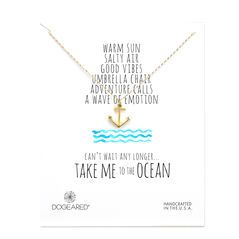 take me to the ocean anchor necklace, gold dipped