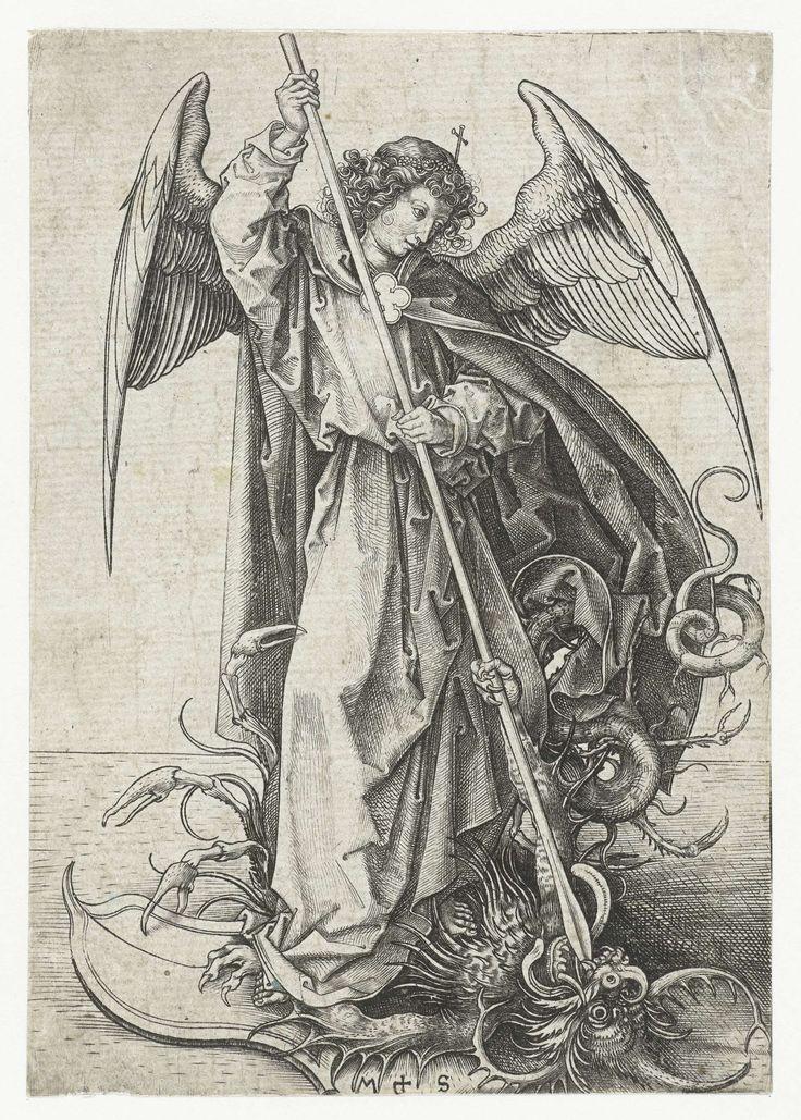 De Heilige Michael en de draak, Martin Schongauer, 1470 - 1490.