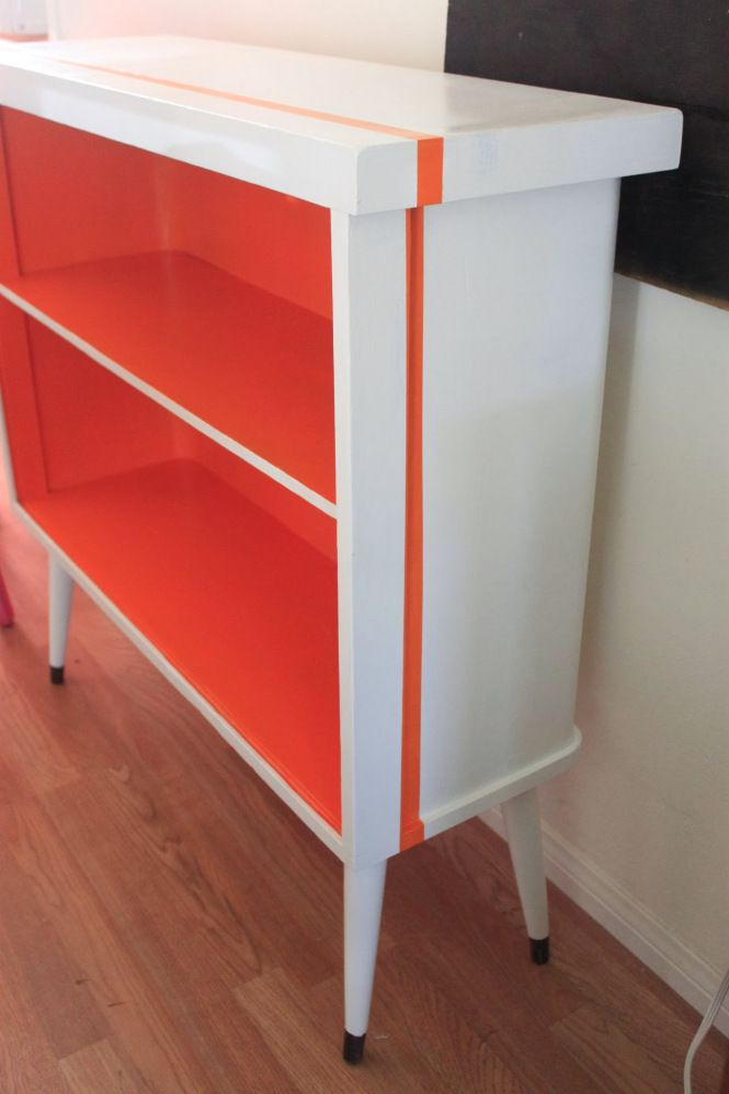 vintage mid century modern bookcase with a racing stripe refurbish furniture