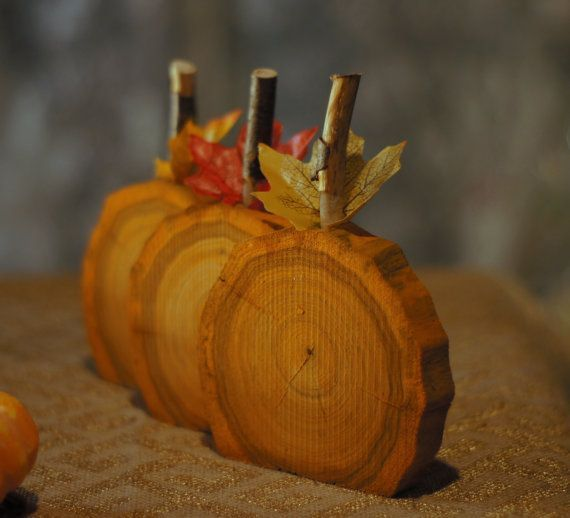 Rustic Wooden Pumpkins - Set of Three. Log Slices with Branch Stems - Hand Painted Pumpkin Orange Display on Tabletop, Mantle, Porch or Hang in your Favorite Wreath.  Approx. Size:  4-6 Diameter  Please note size and wood grain may vary according to whats in stock.    (Photo props not included)  Made to Order (1-3 Days) - Not one is the same but all are beautiful!  More Fall Decor here! - www.etsy.com/...  ~~~~*****~~~~~ Plea...