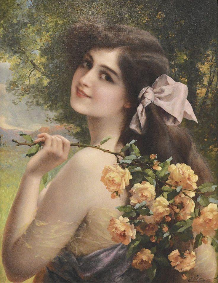 Vernon, Émile (1872-1919)  - Jeune femme aux roses (1911)