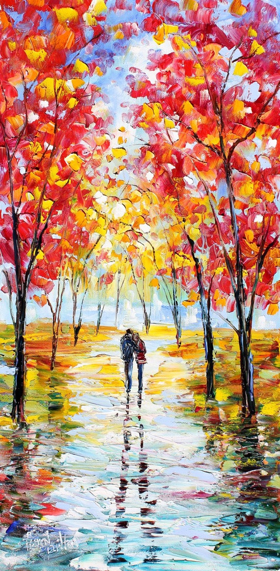Original oil painting Autumn Romance Landscape by Karensfineart