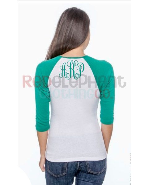 Monogrammed Raglan Tee for Ladies, Monogram Raglan Shirt for Adults, Personalized Raglan Shirt, Three Quarter Sleeve, Preppy, Baseball,