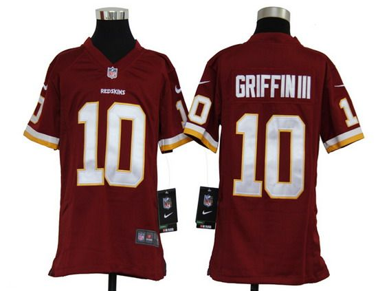 Nike Redskins #10 Robert Griffin III Red Team Color Youth NFL Game Jersey