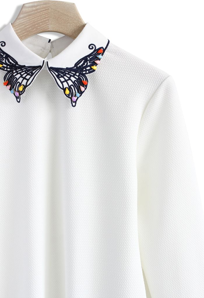 Embellished Butterfly Embroidered Collar Top. @MiaOfCardiff - made for you!