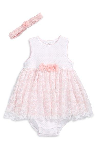 Little+Me+Lace+Cotton+Dress+&+Headband+(Baby+Girls)+available+at+#Nordstrom