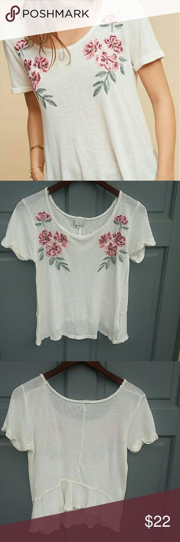"""Anthropologie Postmark floral top- XS Cream embroidered floral top from Anthropologie. Rayon and linen blend. Excellent condition. Made to look slightly frayed around neck and hemline. Size is extra small. Measures 22.5"""" from shoulder to hem. Bust measures 18"""". Made to fit loose. Anthropologie Tops Blouses"""