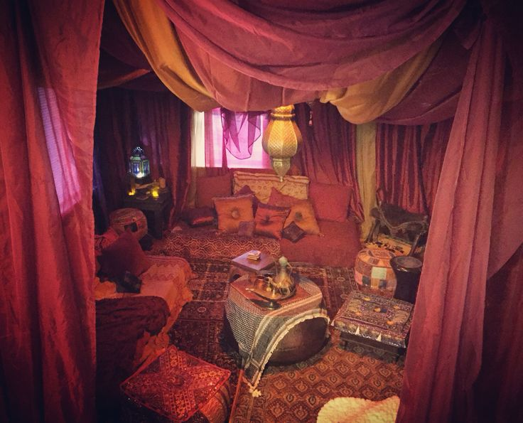My dream living room coming to life! Arabic seating, over a year long project and it's still not done but it's almost there! harem, Bedouin, tent, Moroccan, red room, gypsy tent, caravan, Arabian nights, genie bottle, bohemian, floor seating, escape, lanterns, brass, Middle East, desert