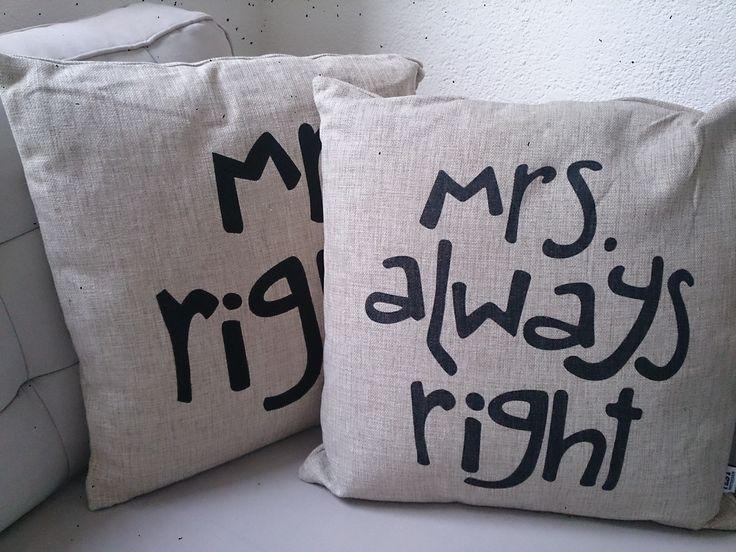 Leuk ( trouw en/of samenwonen ) cadeau ! Mr right en Mrs always right ... GoedGevonden / Koog aan de Zaan