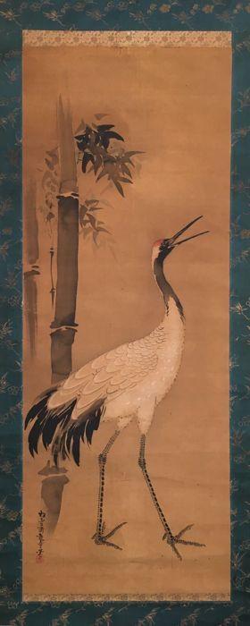 Zeer oude handbeschilderd opknoping scroll - kraan en bamboe ondertekend en verzegeld - Japan - ca. 1820 (Edoperiode)  Zeer oude handbeschilderd scroll schilderij featuring een kraan met bamboe plantenJapan ca. 1820Ondertekend en verzegeldGroot schilderij op doek.Roller eindigt bot.Goede conditie. Tekenen van slijtage (sommige vlek) zoals afgebeeld.Afmetingen:Total afmetingen: ca. 57 x 199 cm (excl. roller eindigt)Schilderij afmetingen: ca. 445 x 116 cmDe kranen schoonheid en hun…