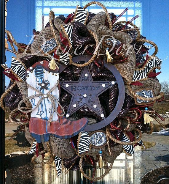 Deluxe Western Cowboy deco mesh Wreath by DzinerDoorz on Etsy, $125.00
