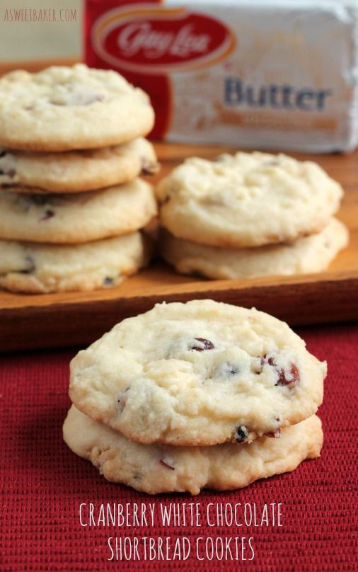 Cranberry White Chocolate Shortbread Cookies - added macadamia nuts