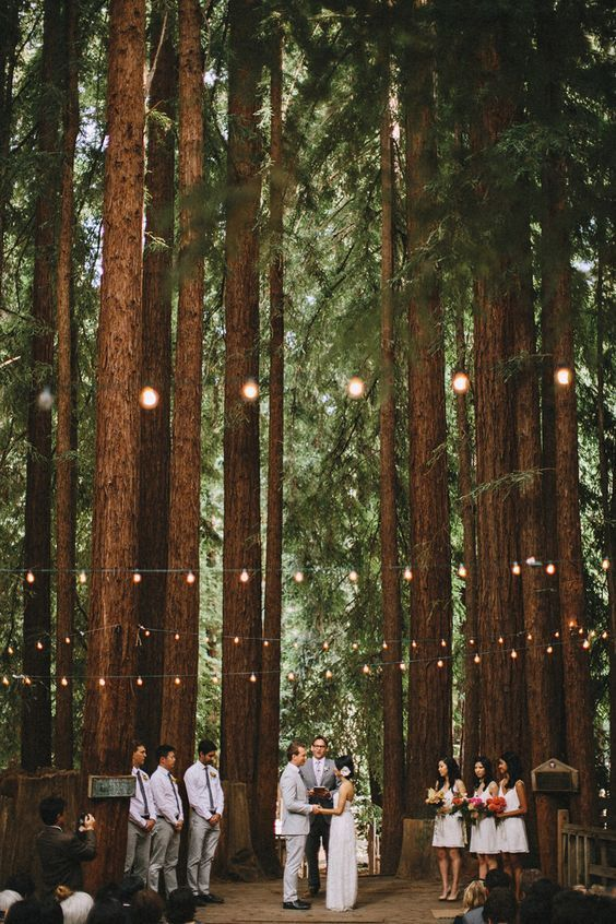 wedding ceremony in the woods: #woodlandwedding