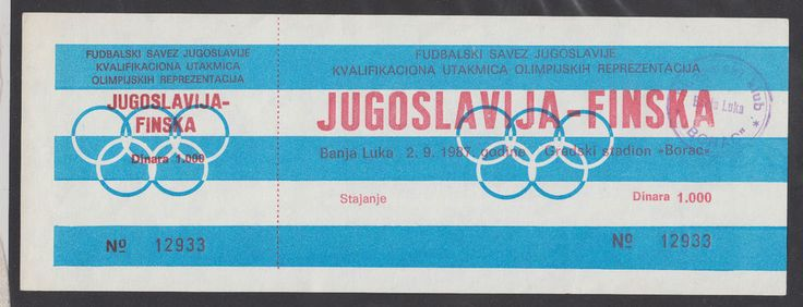SOCCER Qualifaying Match Olympic Teams  YUGOSLAVIA - FINLAND 1987 ticket stub RR #YUGOSLAVIA