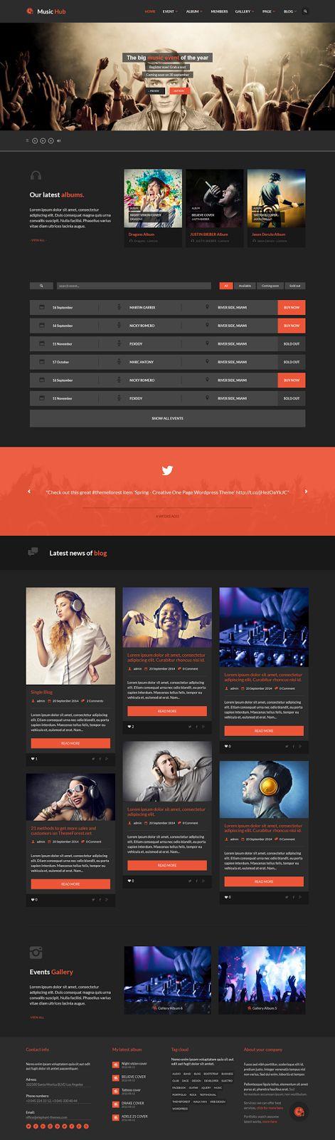 MusicHub Music Band Club Party WordPress Theme #Music #artists #webdesign
