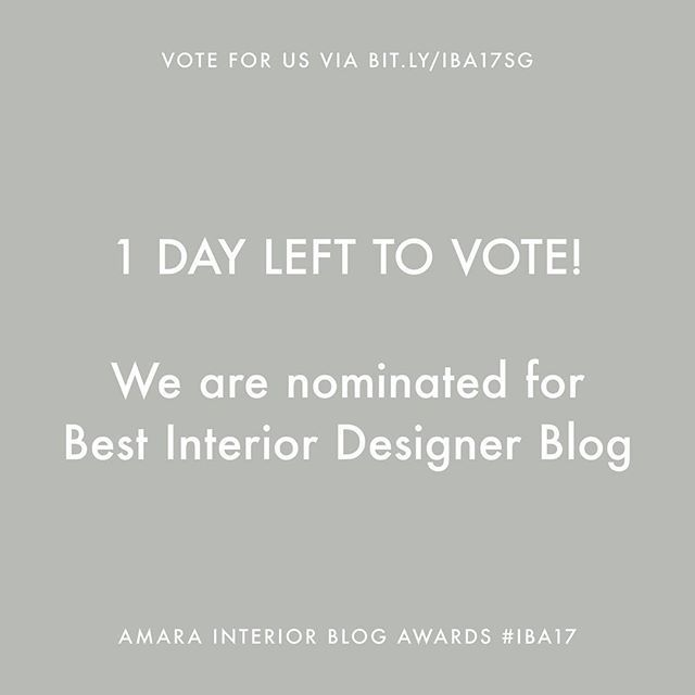 @studiogabrielleuk — 1 DAY LEFT TO VOTE — Voting closes at 5pm tomorrow. What happens if you vote? We could WIN 'Best Interior Designer Blog' at the Amara Interior Blog Awards 2017 #IBA17. Voting only requires a name and email. That's it. Vote via the link in bio (@studiogabrielleuk) or via bit.ly/IBA17SG #studiogabrielleuk - Follow us on Instagram www.instagram.com/studiogabrielleuk