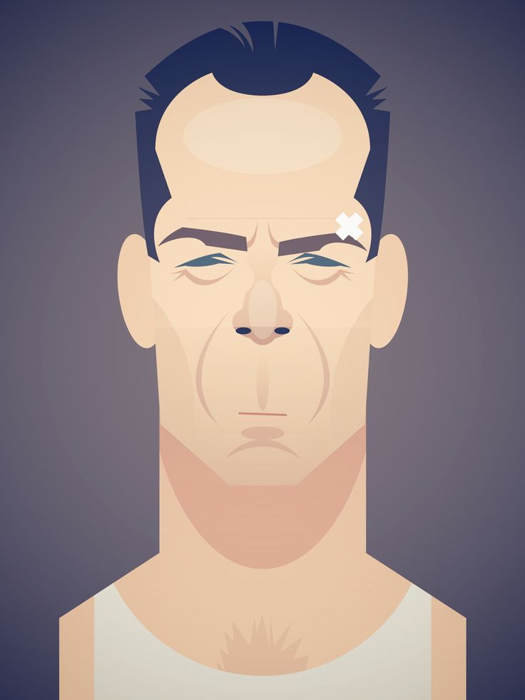 Bruce Willis as John McClane in 'Die Hard', illustration  by Stan Chow
