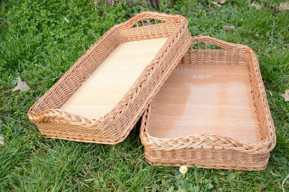 Handwoven Wicker Tray, Handmade Willow Tray, Rustic Serving Tray, Country Kitchen Tray, Wicker Serving Tray with Handles, Ottoman Tray