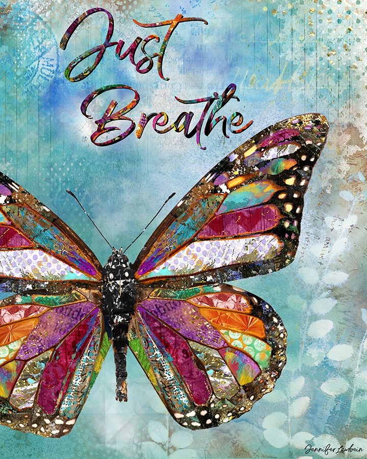 Just Breathe by Jennifer Lambein.  Art, Artist, Home Decor, Etsy, Butterfly, Spring, Summer, Painting, Mixed Media, Collage, Typography, Nature, Blue, Pattern