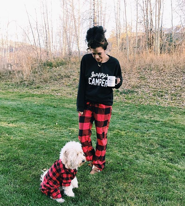 When you and bae wear matching pajamas.. I've been living in this super soft sweatshirt all week since it's so cold here! ❤️ All details: http://liketk.it/2pr7G #liketkit #goldendoodle #saturday #plaid #pajamas #ootd #aspen (John got fitz PJs on a random site online, I think it was fabdogs?!)