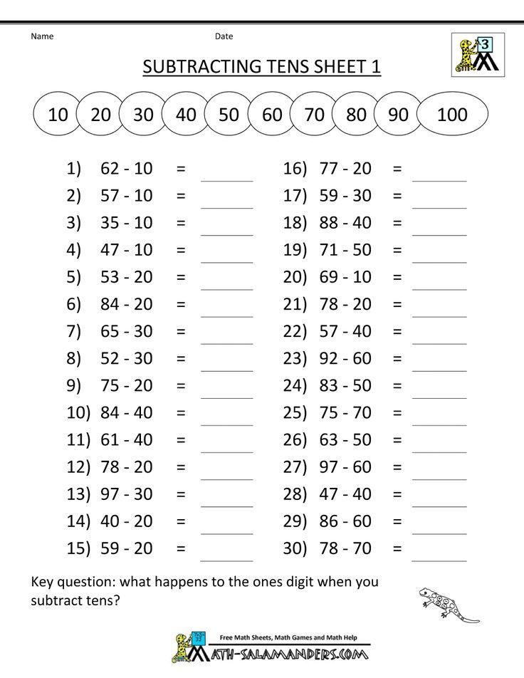 third grade subtraction worksheets mental subtraction subtracting tens 1