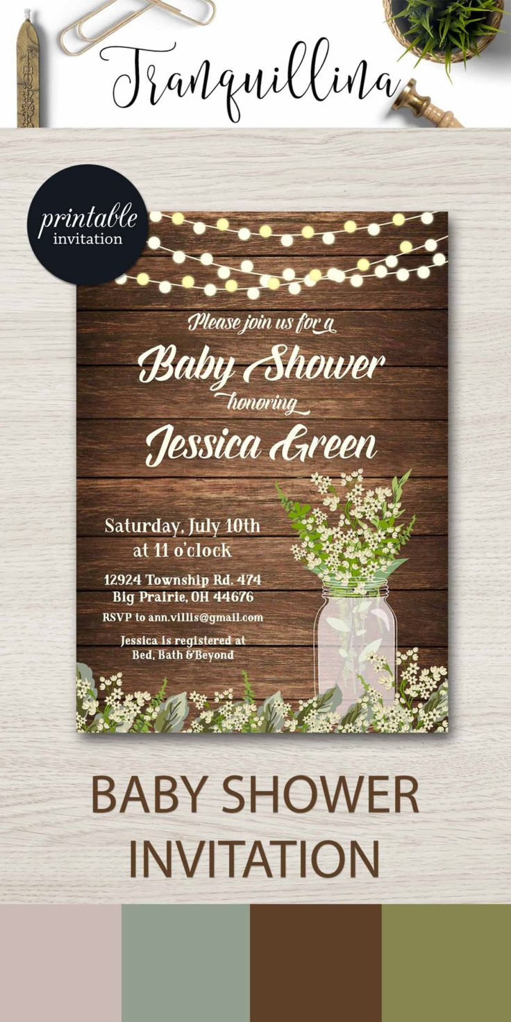 Rustic Baby Shower Invitation Printable, Babys Breath Baby Shower Invitation, Mason Jar Baby Shower Invitation, Rustic Birthday Invitation. tranquillina.etsy.com