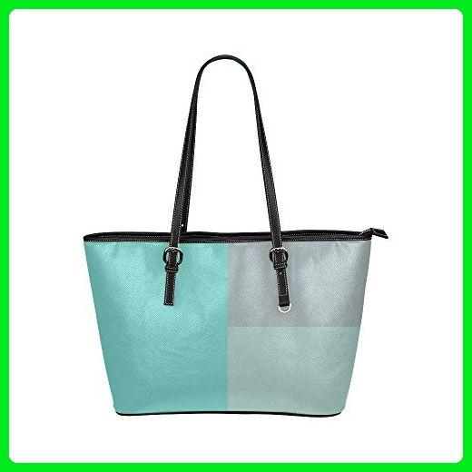 0add3e991317 InterestPrint Women Shoulder Bag Grey With Teal Accents Leather Tote Bag  Large - Shoulder bags (