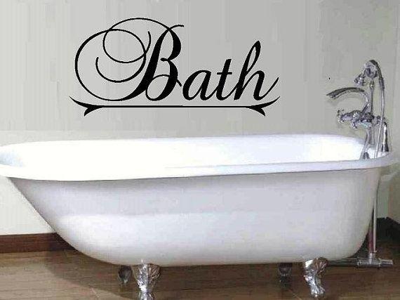 vinyl wall decal quote bath fancy script por