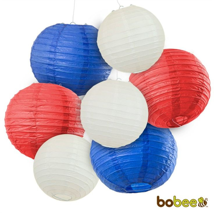 Decorate your Independence Day party with these festive red, white and blue paper lanterns. Our patriotic themed party decorations will make your Fourth of July look great! A set of 7 paper lanterns (