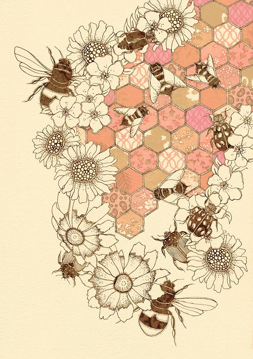 A Quilt of Honey Bees by Colleen Parker. Buttermoths, Etsy. Love this image.