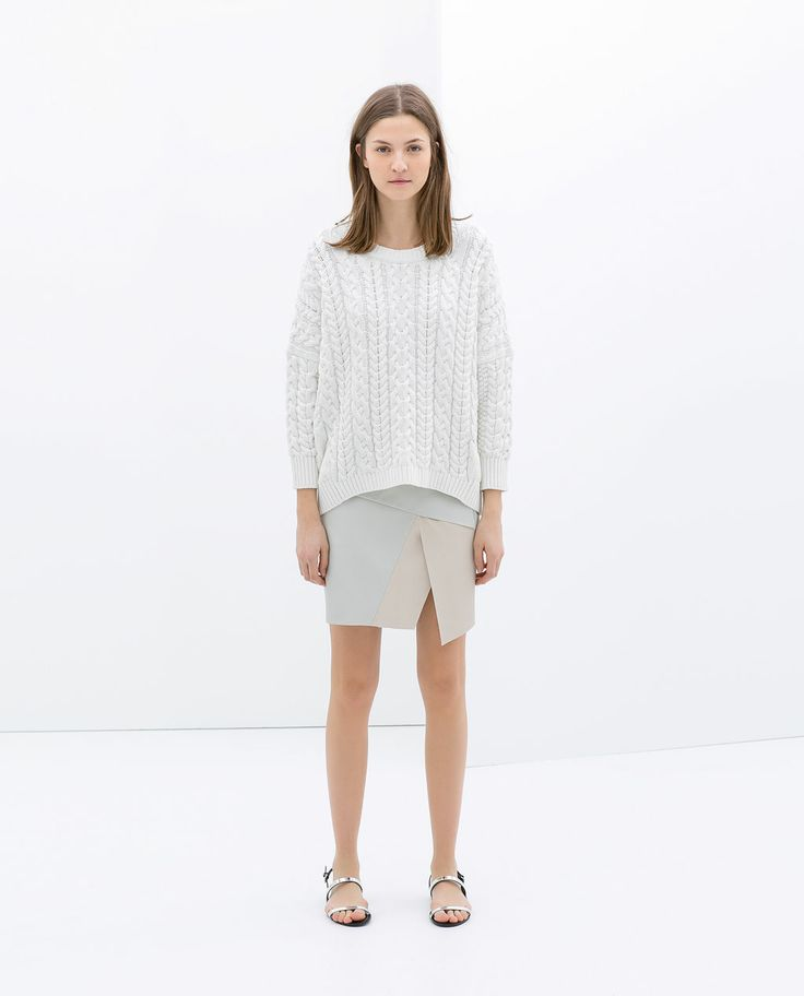 Image 1 of TWO-TONE FAUX LEATHER MINISKIRT from Zara