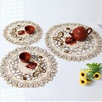 Elegant 100% Polyester Floral Embroidery Placemat      Color: ECRU Base Cloth and Colorful Ebroidery