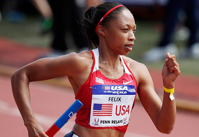 Allyson Felix - Felix, a two-time medalist in Beijing, ran a pair of relays on Saturday and won both. Felix, along with Tianna Madison, Bianca Knight and Carmelita Jeter, took the 4x100m relay with a time of 42.19, this year's world record. In the 4x400 relay, Felix, Francena McCorory, Natasha Hastings and Sanya Richards-Ross bested the field with a time of 3:21.18.