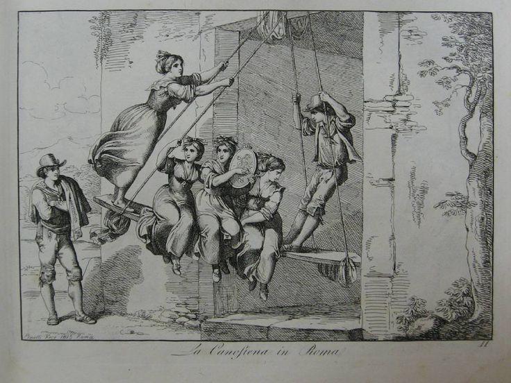 La Canofiena in Roma [Качели в Риме] // Nuova raccolta di cinquanta costumi pittoreschi. Roma, 1816. Бартоломео Пинелли (1781-1835) #antiquebook #devisu #eauforte