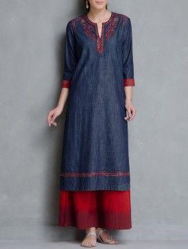 Indigo-Red Embroidered & Sequin Embellished Pocket Detailed Denim Kurta by Kora