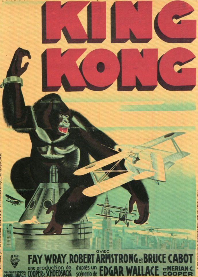 In the United States, movie studios for the most part produced anonymous posters to promote films. In France, however, recognized poster designers were hired to advertise the films they distributed. Rene Peron was one of the leading figures of French film poster design, and over the course of his career, designed more than two thousand posters. King Kong premiered in America on March 3, 1933 and in France on March 16th, 1933.