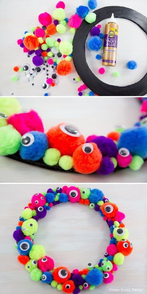 Easy and Fun Monster Wreath DIY by Press Print Party! Craft - Monster Craft - Halloween Craft - Monster Birthday - Monster Party - Halloween Decor - Halloween Decorations - Pompoms - Googly eyes - Boys Birthday Ideas.