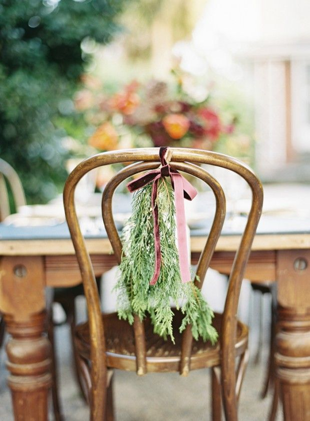 Simple cedar with velvet ribbon.Wooden Chairs, Velvet Ribbons, Chairs Decor, Wedding Blog, Bentwood Chairs, Chairs Back, Christmas Wedding Chairs, Winter Weddings, Fall Wedding