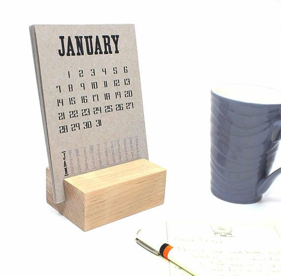 2020 Calendar With Optional Raw Wood Block Desk Stand Wood Blocks Desk Calendars Calendar