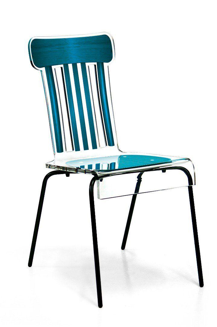BISTRO chaise en plexi turquoise par ACRILA                                                                                                                                                                                 Plus