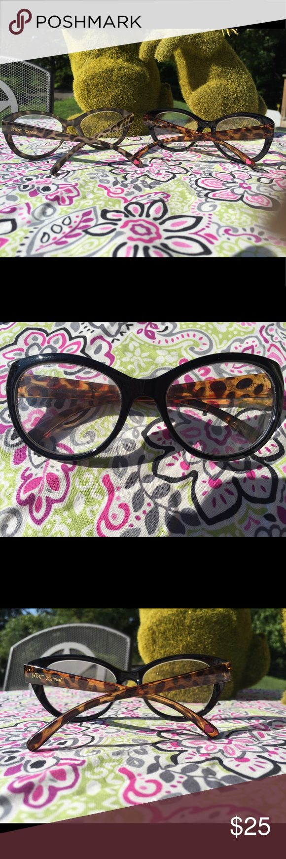 Authentic Betsy Johnson  glasses set of 2 First pair is a black cat eye frame with brown tortoise shell (with 💗on the tip of frame ).            The second pair is a black and grey tortoise shell lens and frame . the grey was worn once  . My face is so tiny they didn't fit well, I love them and think they will look great on the right person .  Cheaters 125 strength Betsey Johnson Accessories Glasses