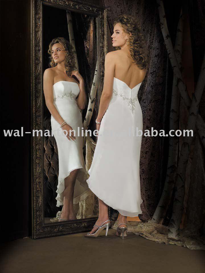 Aliexpress.com : Buy TWD008 chiffon Asymmetrical Tea length wedding dress from Reliable Tea-leng ...