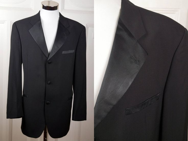 Vintage Hugo Boss Tuxedo Jacket, Black Dinner Jacket w Silk Notch Lapel, German Smoking Jacket, European Tux Blazer: Size XL, (42 US/UK) by YouLookAmazing on Etsy